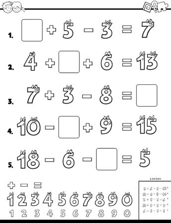 Black and White Cartoon Illustration of Educational Mathematical Calculation Worksheet for Elementary School Children