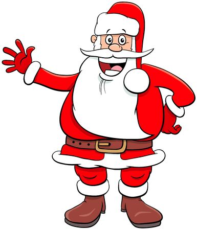 Cartoon Illustration of Funny Santa Claus Character on Christmas Holiday Time