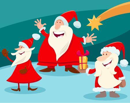 Cartoon Illustration of Christmas Design or Greeting Card with Santa Claus Characters and Star Illusztráció