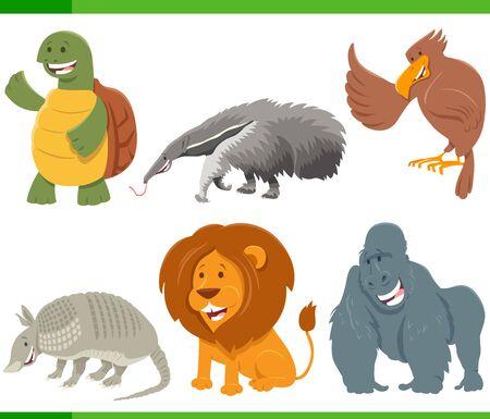 Cartoon Illustration of Happy Wild Animal Comic Characters Set