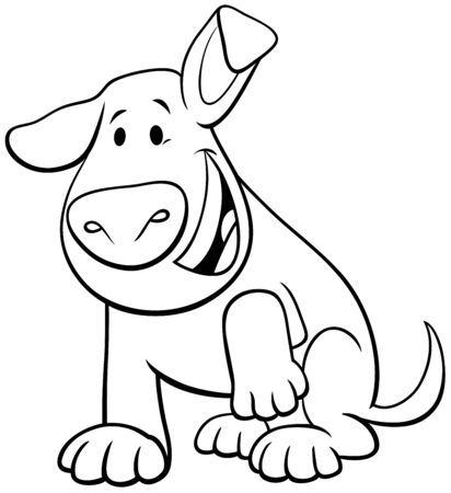 Black and White Cartoon Illustration of Happy Brown Puppy or Dog Comic Animal Character Coloring Book Page