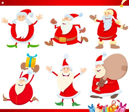 Cartoon Illustration of Santa Claus Characters with Presents on Christmas Time Set