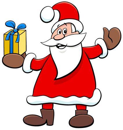 Cartoon Illustration of Funny Santa Claus Character with Present on Christmas Holiday Time Illusztráció
