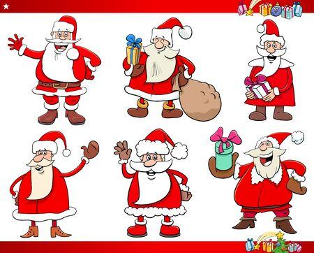 Cartoon Illustration of Santa Claus Christmas Holidays Characters Set