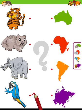Cartoon Illustration of Educational Pictures Matching Game for Children with Animal Characters and Continent Shapes Ilustrace