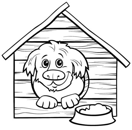 Black and White Cartoon Illustration of Happy Dog Comic Animal Character in the Dog Coloring Book Page