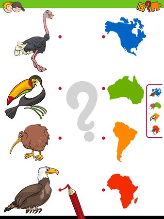 Cartoon Illustration of Educational Pictures Matching Game for Children with Animal Characters and Continents Shapes