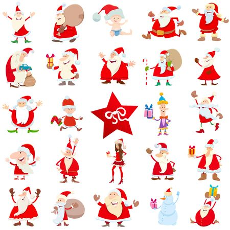 Cartoon Illustration of Santa Claus Characters on Christmas Time Large Set