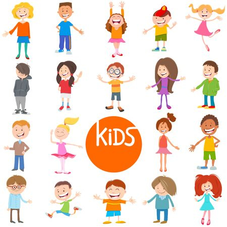 Cartoon Illustration of Cute Children and Teenagers Characters Large Set