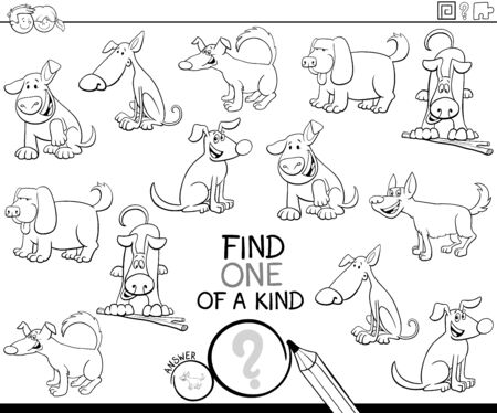Black and White Cartoon Illustration of Find One of a Kind Picture Educational Activity Task for Children with Dogs Animal Characters Coloring Book Page