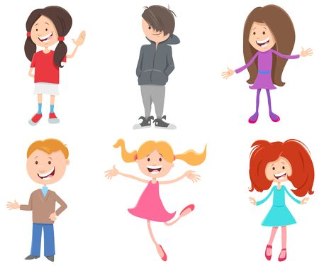 Cartoon Illustration of Happy Children and Teen Kids Characters Set 向量圖像