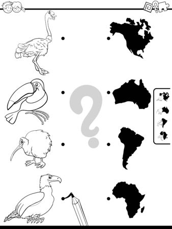 Black and White Cartoon Illustration of Educational Pictures Matching Game for Children with Animal Characters and Continents Shapes Coloring Book