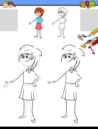 Cartoon Illustration of Drawing and Coloring Educational Activity for Children with Young Girl Character