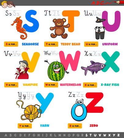 Illustration de dessin animé de l'ensemble éducatif de l'alphabet majuscule pour la pratique de la lecture et de l'écriture pour les enfants d'âge élémentaire de S à Z