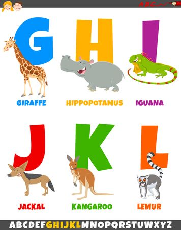 Cartoon Illustration of Colorful Alphabet Set from Letter G to L with Funny Animal Characters Ilustrace