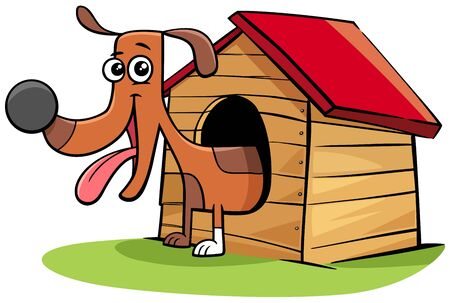 Cartoon Illustration of Happy Dog Comic Animal Character in his Doghouse
