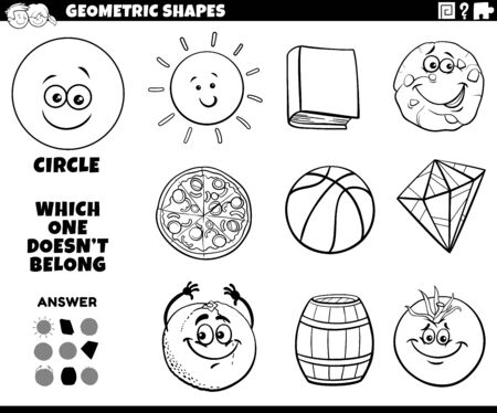 Black and White Cartoon Illustration of Circle Geometric Shape Educational Task for Children Coloring Book Page
