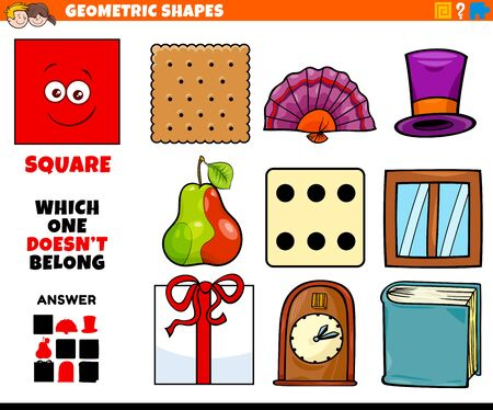 Cartoon Illustration of Square Geometric Shape Educational Task for Children