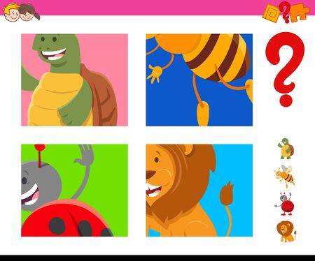 Cartoon Illustration of Educational Game of Guessing Animals Species Characters for Children Illustration