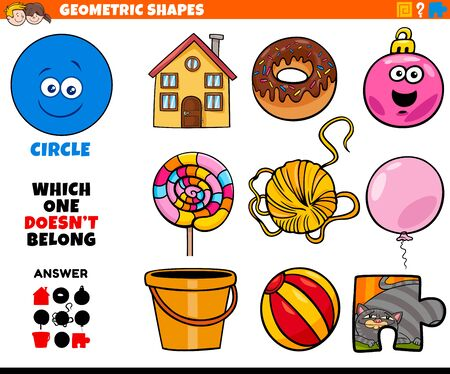 Cartoon Illustration of Circle Geometric Shape Educational Game for Children