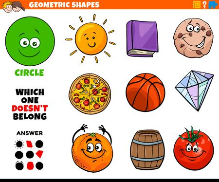 Cartoon Illustration of Circle Geometric Shape Educational Task for Children