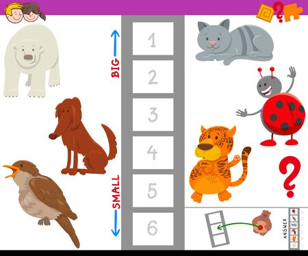 Cartoon Illustration of Educational Game of Finding the Largest and the Smallest Species with Funny Animal Characters