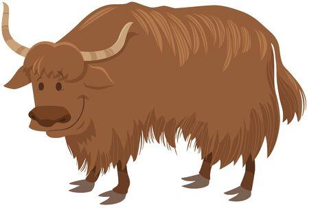 Cartoon Illustration of Funny Yak Wild Animal Character Vecteurs