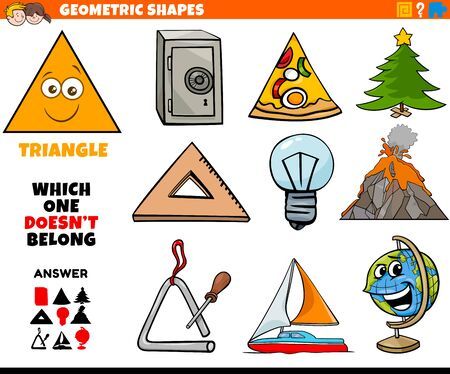 Cartoon Illustration of Triangle Geometric Shape Educational Task for Children