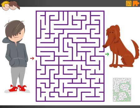 Cartoon Illustration of Educational Maze Activity Game for Children with Boy and Dog Animal Character Zdjęcie Seryjne - 134175503