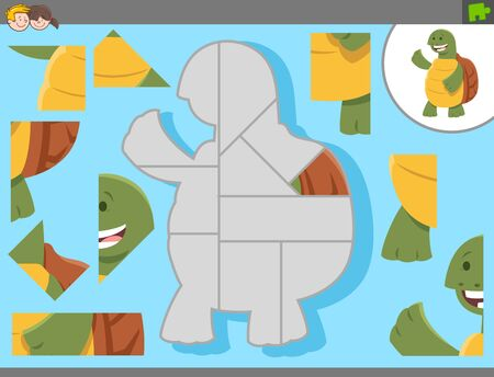 Cartoon Illustration of Educational Jigsaw Puzzle Game for Children with Funny Tortoise Animal Character Ilustração Vetorial