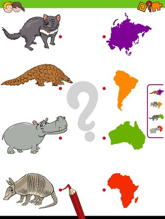 Cartoon Illustration of Educational Pictures Matching Game for Children with Animal Species Characters and Continent Silhouettes
