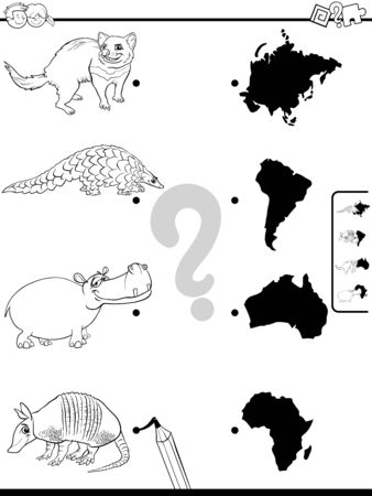 Black and White Cartoon Illustration of Educational Pictures Matching Game for Children with Animal Species Characters and Continent Silhouettes Coloring Book Page