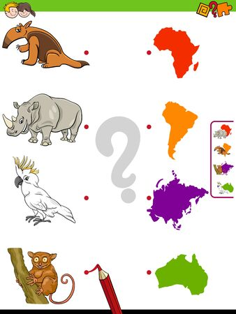 Cartoon Illustration of Educational Matching Game for Children with Animal Species Characters and Continent Shapes