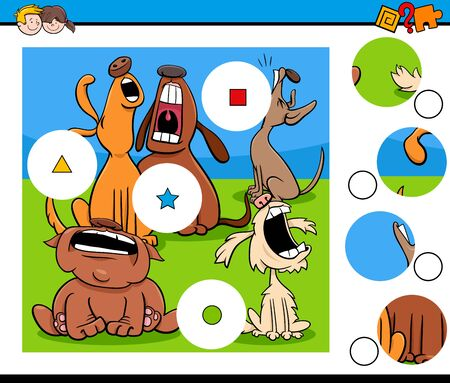 Cartoon Illustration of Educational Match the Pieces Jigsaw Puzzle Game for Children with Funny Howling Dogs Animal Characters Ilustração Vetorial