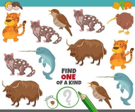 Cartoon Illustration of Find One of a Kind Image Tâche éducative avec des personnages animaux drôles