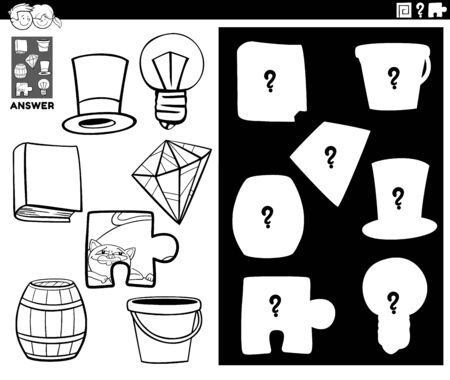 Black and White Cartoon Illustration of Match Objects and the Right Shape or Silhouette with Objects Educational Game for Children Coloring Book Page 일러스트