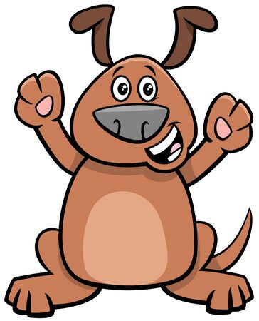Cartoon Illustration of Happy Puppy Dog Comic Animal Character