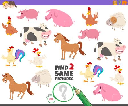 Cartoon Illustration of Finding Two Same Pictures Educational Activity Game for Children with Cute Farm Animal Characters Çizim