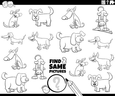 Black and White Cartoon Illustration of Finding Two Same Pictures Educational Activity Game for Children with Dogs Pet Animal Characters Coloring Book Page Çizim