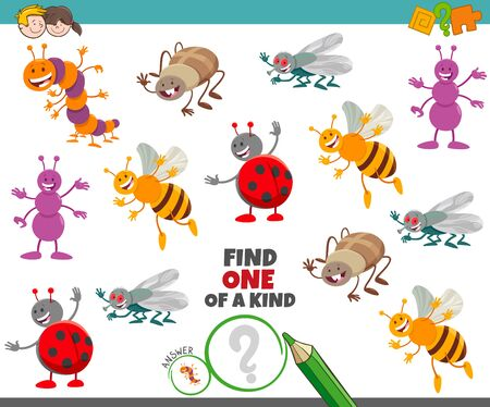 Cartoon Illustration of Find One of a Kind Picture Educational Game with Funny Insects Animal Characters