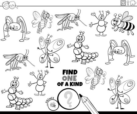 Black and White Cartoon Illustration of Find One of a Kind Picture Educational Game with Funny Insects and Bugs Animal Characters Coloring Book Page
