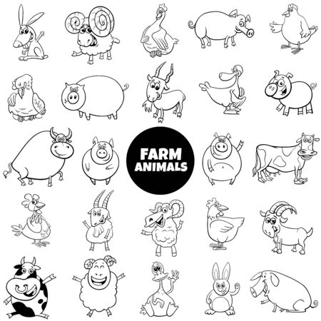 Black and White Cartoon Illustration of Funny Farm Animal Characters Large Set Ilustracja