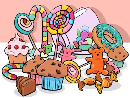 Cartoon Illustration of Sweet Food Objets and Candies Group 矢量图像