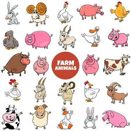 Cartoon Illustration of Funny Farm Animal Characters Large Set