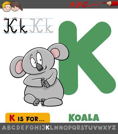 Educational Cartoon Illustration of Letter K from Alphabet with Koala Bear Animal for Children Çizim