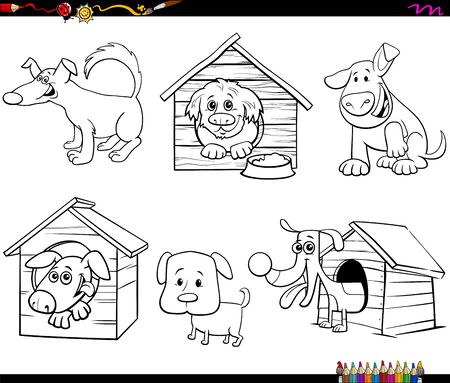 Black and White Cartoon Illustration of Dogs Animal Characters Set Coloring Book Page Illustration