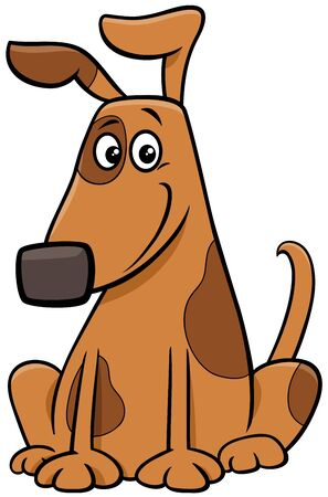 Cartoon Illustration of Funny Brown Spotted Dog Comic Animal Character Illustration
