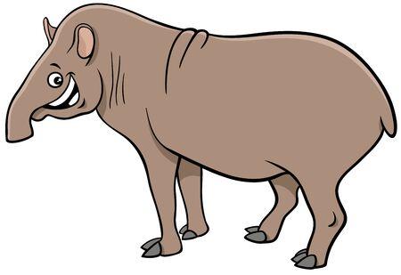 Cartoon Illustration of Funny South American Tabir Wild Animal Comic Character