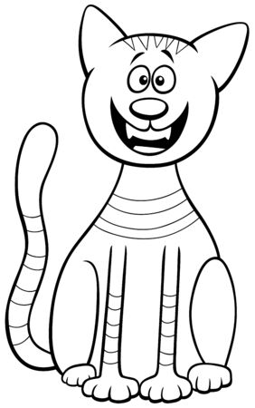 Black and White Cartoon Illustration of Funny Cat Animal Character Coloring Book Page