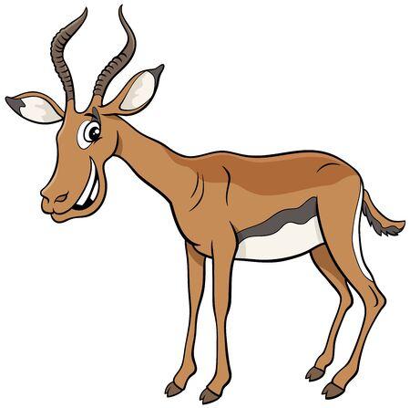 Cartoon Illustration of Funny African Impala Wild Animal Comic Character